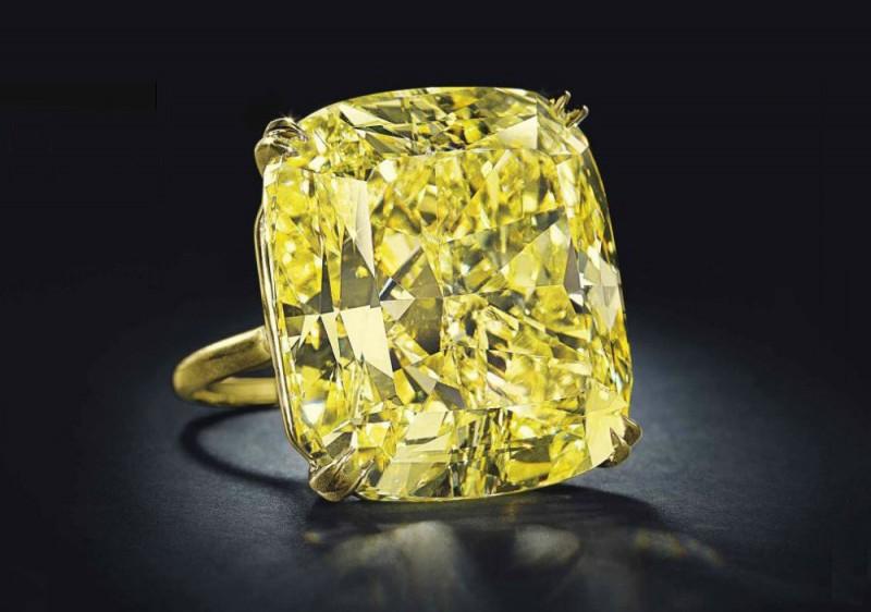 Кольцо с ярко-желтым бриллиантом весом 75 карат, проданное за 3,6 миллиона долларов