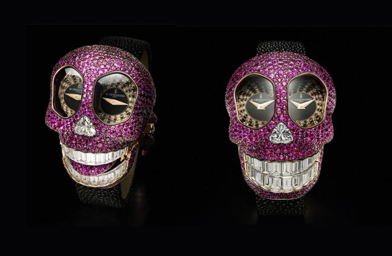 Браслет-часы с черепом от de Grisogono