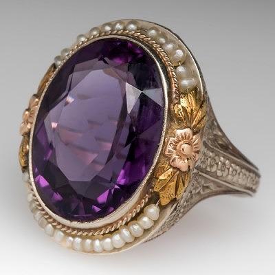 Кольцо с аметистом и жемчугом от EraGem