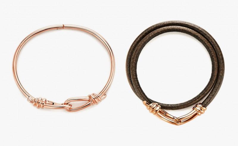 Мужские браслеты из розового золота и кожи, разработанные Паломой Пикассо для Tiffany & Co.
