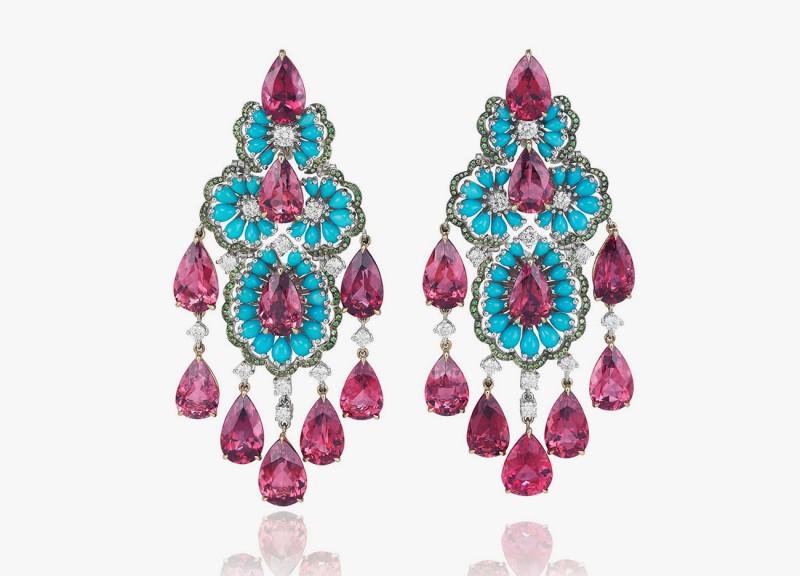 Серьги Chopard с бирюзой, рубеллитами, цаворитами и бриллиантами