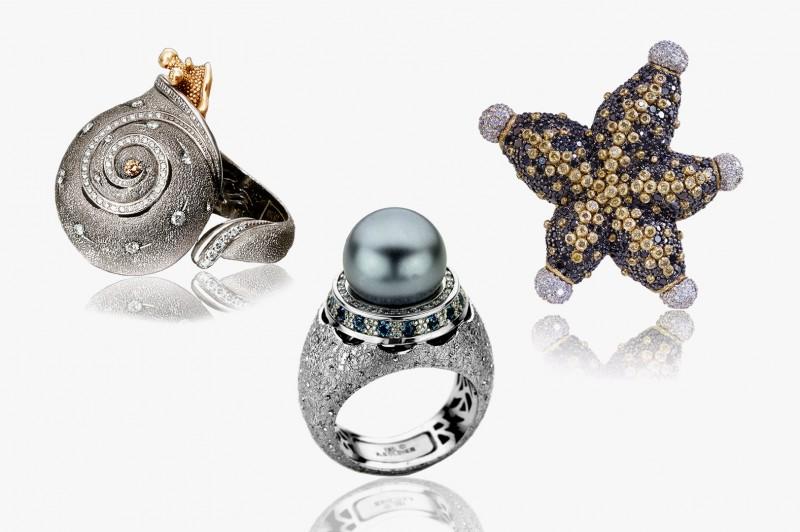 Кольцо-улитка, бриллиантовая морская звезда и кольцо с таитянской жемчужиной от Alex Soldier