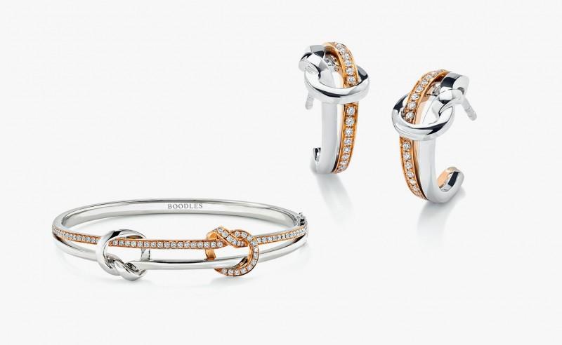 Браслет и серьги из коллекции Knot от Boodles из розового и белого золота с бриллиантами, вдохновленные классическим морским узлом.
