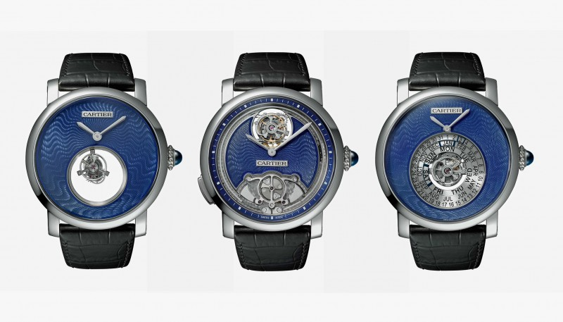 Слева направо: часы Rotonde de Cartier Mysterious Double Tourbillon, часы Rotonde de Cartier Minute Repeater Flying Tourbillon и часы Rotonde de Cartier Astrocalendaire Tourbillon