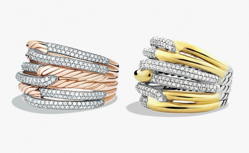 Кольца из розового, желтого и белого золота с бриллиантами из коллекции Labyrinth от David Yurman
