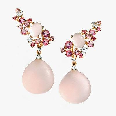 Серьги от Brumani с турмалинами, бриллиантами и розовым кварцем