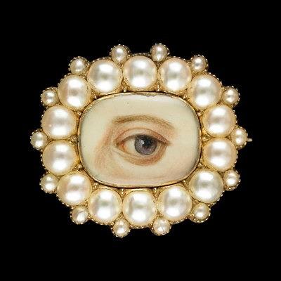Брошь с глазом времен георгианской эпохи, украшенная жемчугом