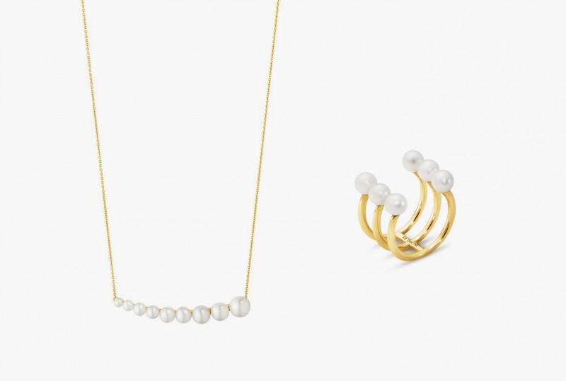 Колье и кольцо с жемчугом от Georg Jensen из коллекции Neva