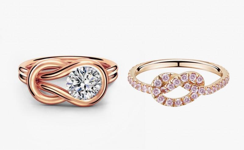 Золотое кольцо с бриллиантом от Forevermark и кольцо с бледно-розовыми сапфирами от Finn Jewelry