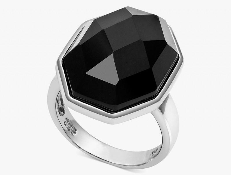 Серебряное кольцо с черным ограненным агатом от Sterling