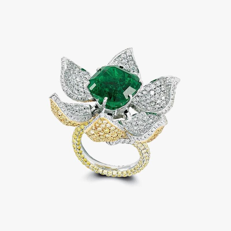 Кольцо с раскрывающимся цветком от Glenn Spiro
