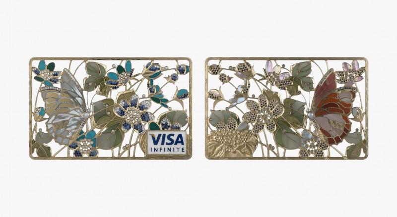 Карта «Бабочка в незабудках» из коллекции Art Collection с бриллиантами, сапфирами, жемчугом, перламутром, бирюзой, нефритом, жадеитом и яшмой