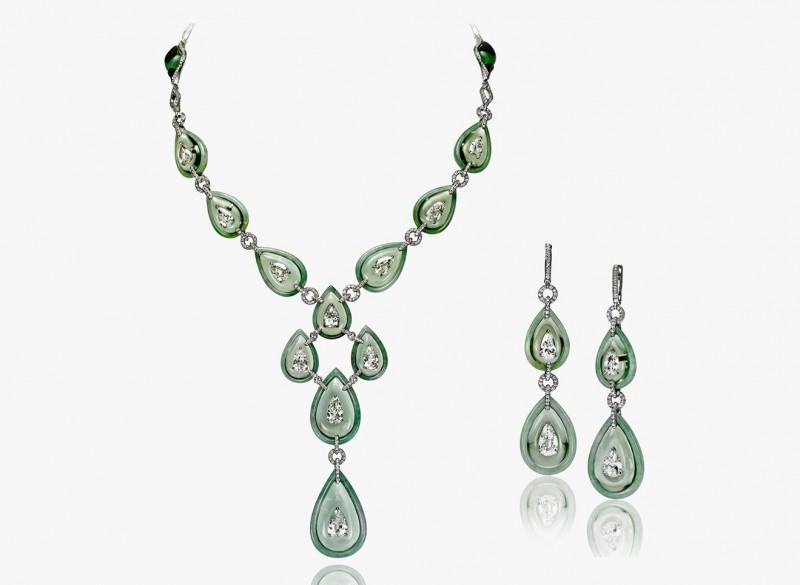 Колье и серьги с бриллиантами, празиолитами и жадеитом из коллекции Art of Inlay
