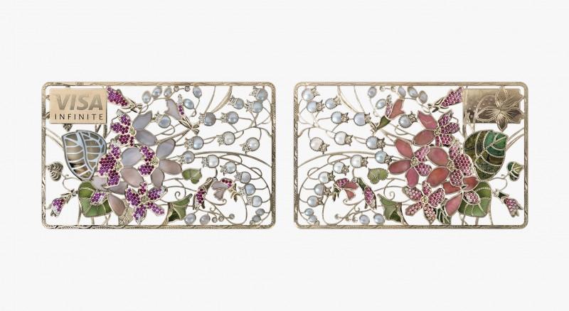 Карта «Ландыши и фиалки» из коллекции Art Collection с бриллиантами, рубинами, сапфирами, жемчугом, перламутром, родонитом, нефритом и жадеитом