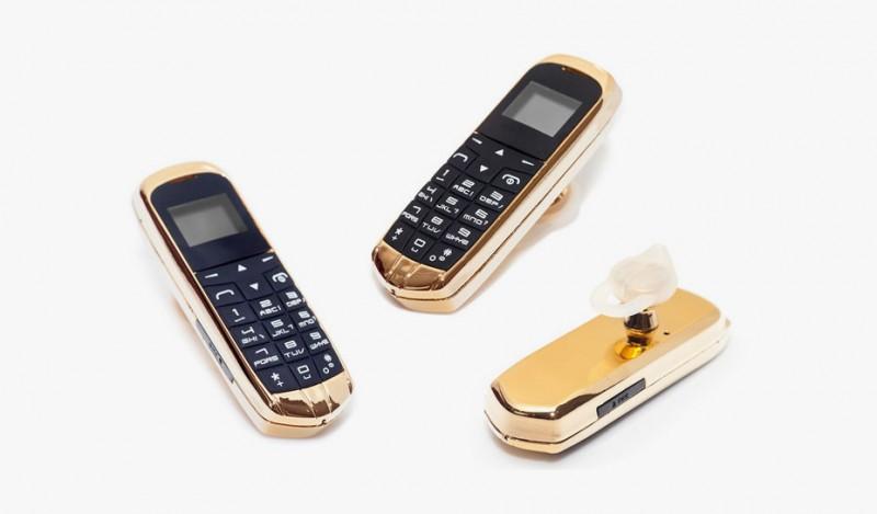 Позолоченная гарнитура в форме телефона