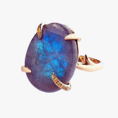 Кольцо с ярким лабрадоритом от Biiju
