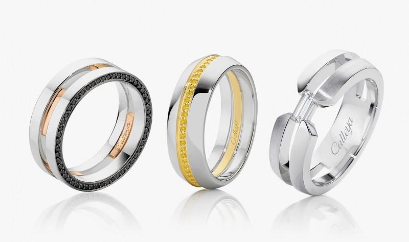 Мужские кольца из белого золота с бриллиантами от Calleija