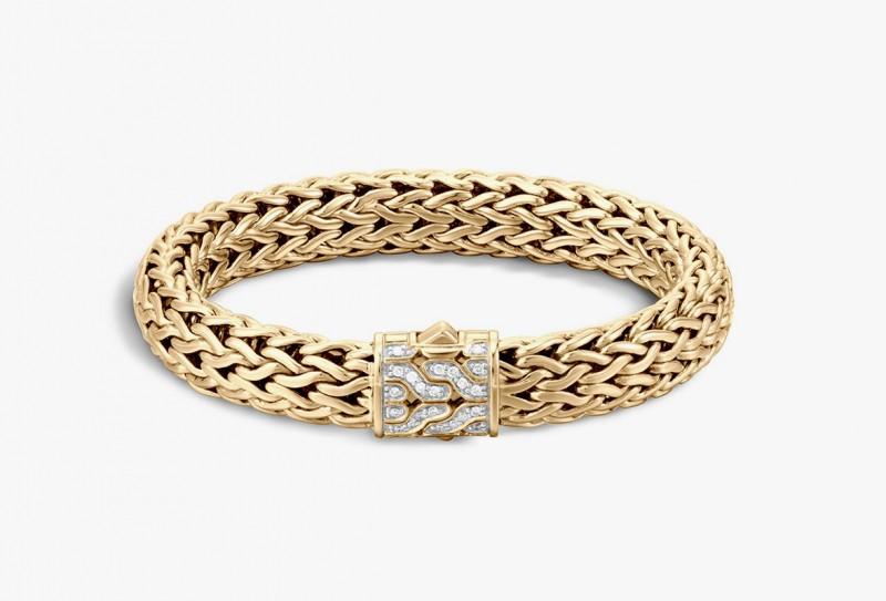 40 эксклюзивных золотых браслетов с замком, инкрустированным бриллиантами. John Hardy 40th Anniversary Collection