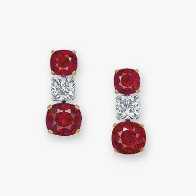 Серьги с рубинами и бриллиантами из комплекта Mogok's Fiery Red от Fai Dee