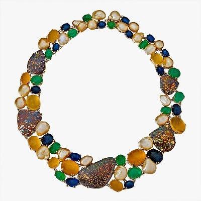 Колье Margot McKinney с опалами, золотым жемчугом Южных морей, изумрудами и сапфирами