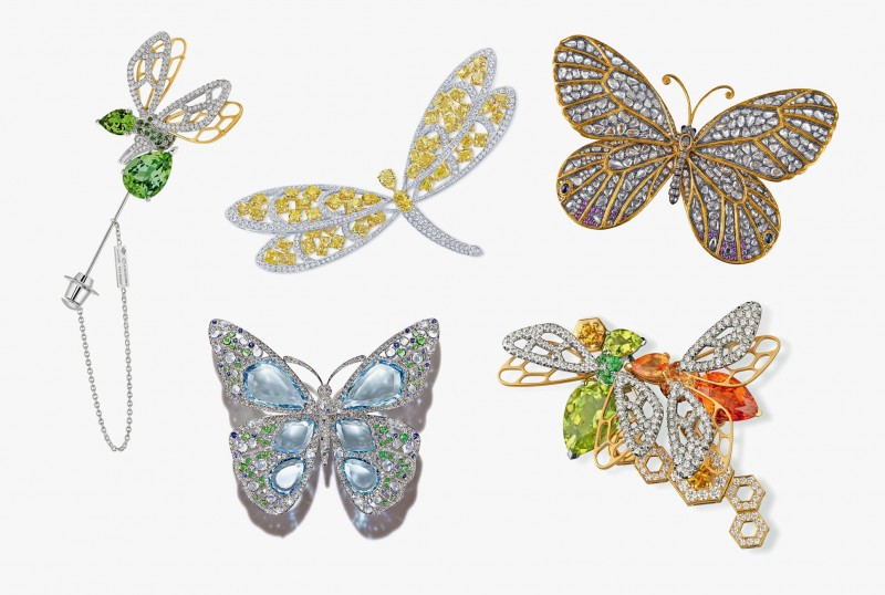 Броши с пчелами от Chaumet, брошь-бабочка от Tiffany, брошь-стрекоза от Graff и брошь-бабочка от Dickson Yewn