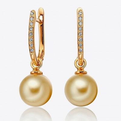 Золотые серьги с бриллиантами и жемчугом от Winterson