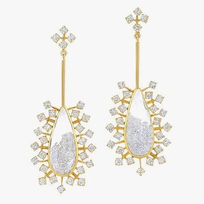 Серьги с бриллиантами в сапфировом стекле от Moritz Glik