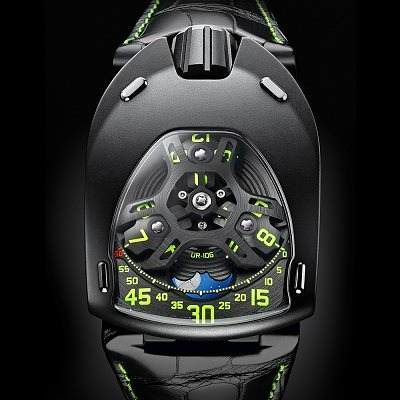 Часы Urwerk UR-106 Only Watch из титана и стали. Ориентировочная цена 38400–57 600 евро