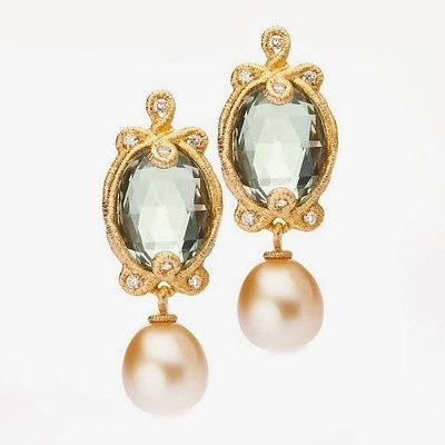 Серьги с жемчугом, празиолитами и бриллиантами от Brigitte Adolph
