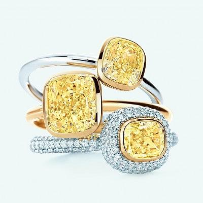 Обручальные кольца с желтыми бриллиантами от Tiffany & Co.