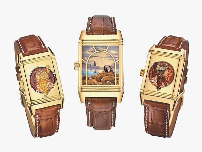 Золотые часы из серии Grande Reverso. Слева направо: миниатюра, воспроизводящая картину из серии «Головы Византиек» Альфонса Мухи; Миниатюра по картине Каспара Давида Фридриха; миниатюра с еще одной картиной из серии «Головы Византиек» Альфонса Мухи.
