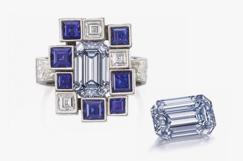 Кольцо с серо-голубым бриллиантом, проданное за 2,2 миллиона долларов