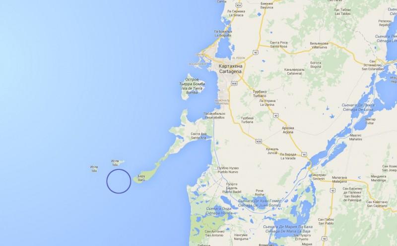 Примерное местонахождение затонувшего в 1708 году испанского корабля