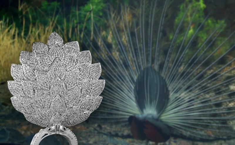 Кольцо-павлин от Savio Jewellery, вид сзади