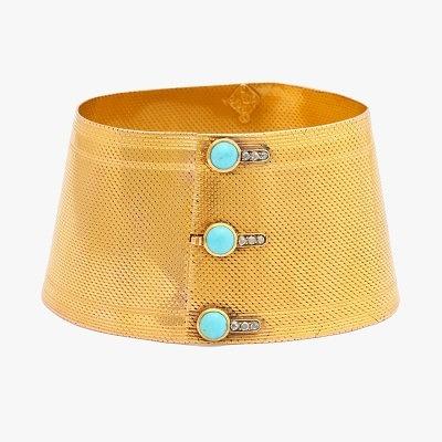 Золотой браслет-манжет с бирюзовыми пуговицами от Pat Saling, середина XIX века