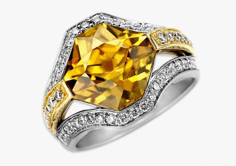 Кольцо с желтым цирконом. Фото: elisailana.com