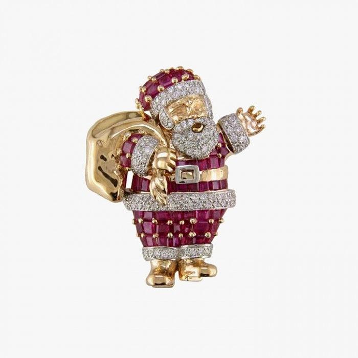 Брошь Санта Клаус от Oscar Heyman