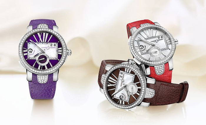 Часы Executive Lady от Ulysse Nardin представлены в трех разных цветах: фиолетовом, коричневом и красном