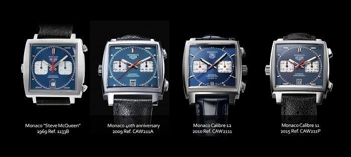 Часы Monaco Steve McQueen от Tag Heuer, выпущенные с 1969 по 2015 годы
