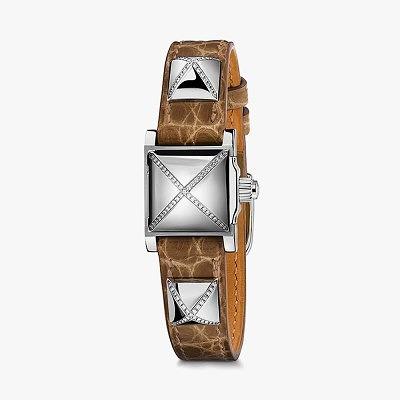 Часы Hermès Médor с ремешком из кожи аллигатора с бриллиантовым паве на пирамидках