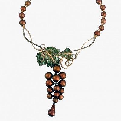 Колье «Дольче вита» с морским жемчугом, цветными и бесцветными бриллиантами, автор Денис Копосов