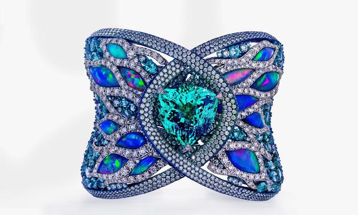 Браслет Arunashi с турмалином 23 карата, опалами и бриллиантами
