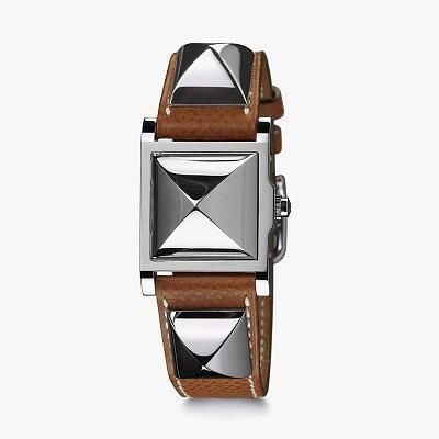 Часы Hermès Médor с ремешком из телячьей кожи и родированными пирамидками