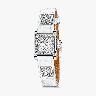 Часы Hermès Médor с ремешком из белой кожи аллигатора с бриллиантовым паве