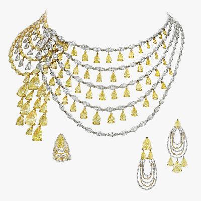 Драгоценный сет из колье, серег и кольца с бриллиантами от Boghossian