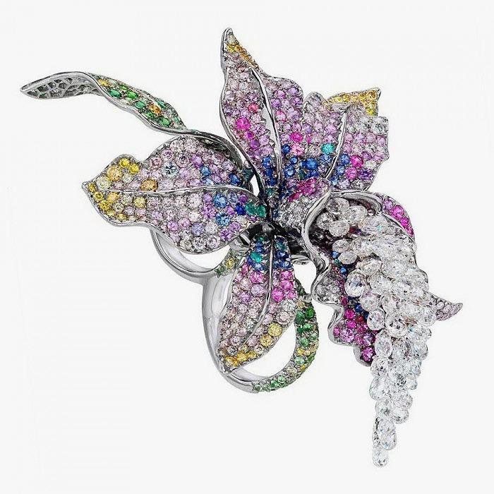 Двойное кольцо с орхидеей от Anna Hu в белом золоте