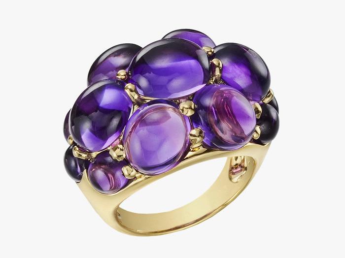 Золотое кольцо Seaman Schepps с аметистовыми кабошонами