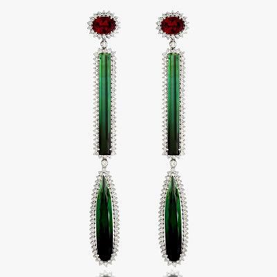 Серьги Raffinate с бриллиантами, розовыми и зелеными турмалинами от Vianna Brasil