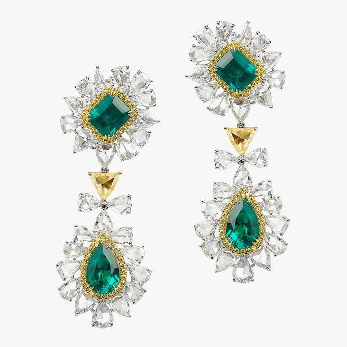 Серьги Avakian с бриллиантами и изумрудами