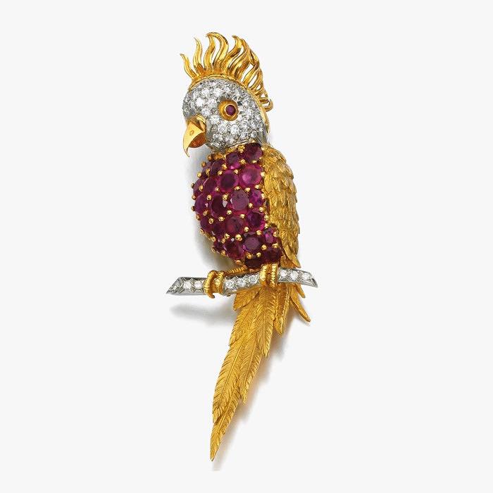 Брошь с рубинами и бриллиантами от Kutchinsky